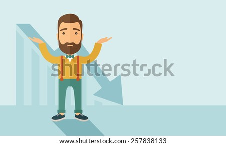 The man with a beard with falling down chart is confused. Bankruptcy concept. Vector flat design illustration. Horizontal layout with a text space in a right. - stock vector