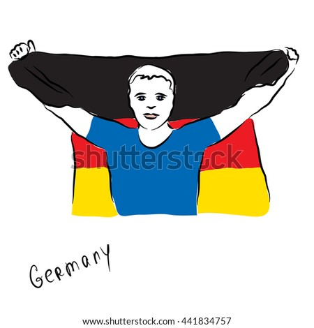 The man with the national flag of Germany in his hands. Fan. Freehand vector illustration. - stock vector
