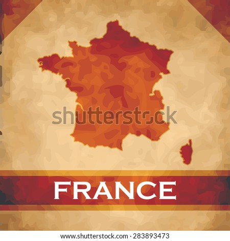 The map of France on parchment with dark red ribbons - stock vector