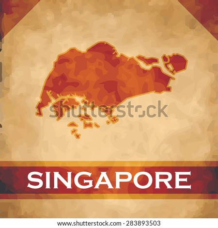 The map of Singapore on parchment with dark red ribbons - stock vector
