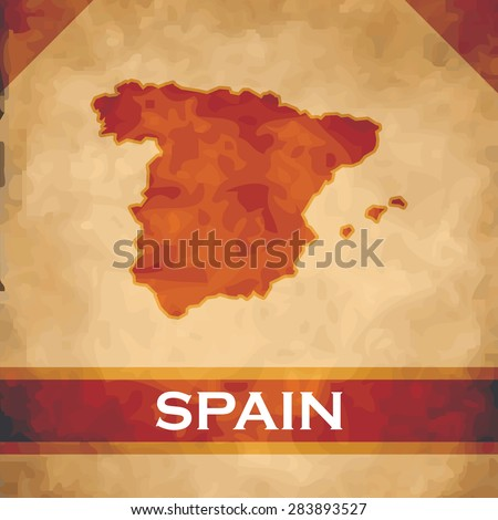 The map of Spain on parchment with dark red ribbons - stock vector