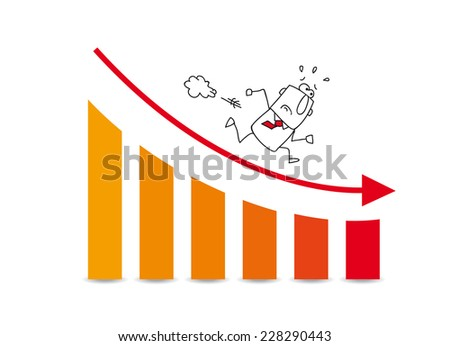 the market grows down. Joe is very disappointed. He runs on a diagram which illustrates the the bad results of his company - stock vector