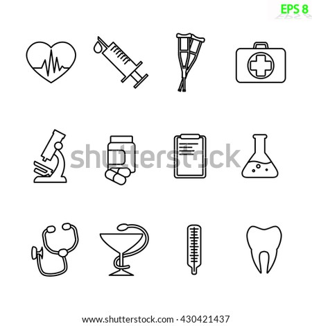 the medical icon set isolated on white. Outline vector design - stock vector