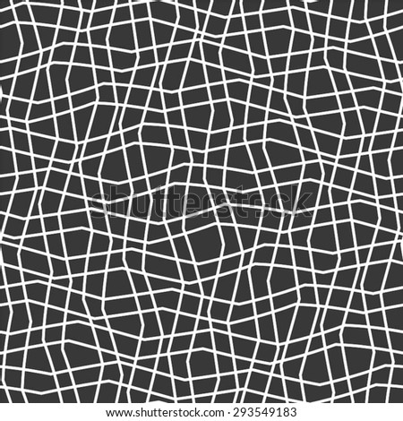 The mesh monochrome pattern of curved lines, seamless vector background. - stock vector