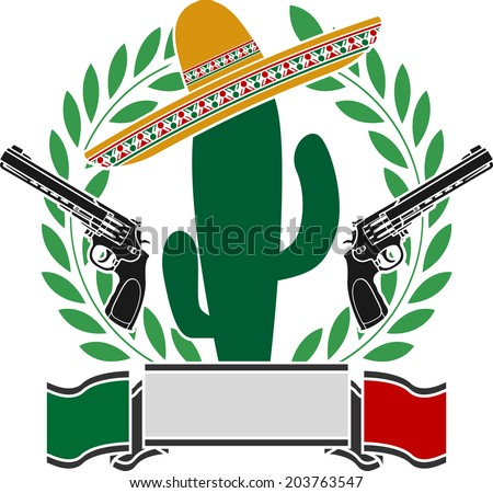the mexican cactus and two pistols and laurel wreath - stock vector