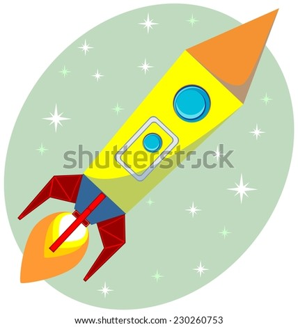The missile with a fierce flame of the turbine in the sky, vector illustration - stock vector