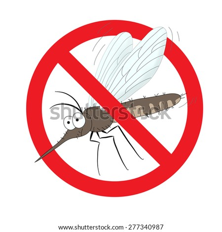the mosquitoes stop sign, vector image of funny of a mosquito in a red crossed out circle - stock vector