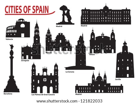 The most famous building in the city of Spain - stock vector