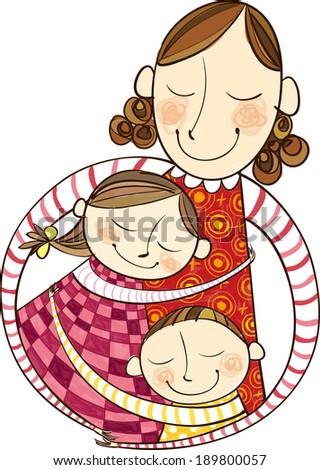 The mother is hugging children  - stock vector