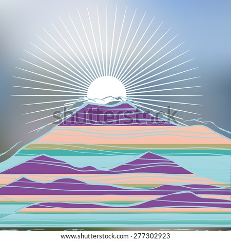 The mountains and the sun. Abstract image of the mountain hill-color image and graphic lines - stock vector