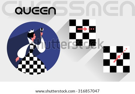 The moves of the chess queen in the flat style - stock vector