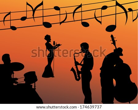 The music band - stock vector