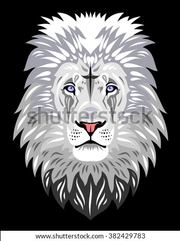 The muzzle of a White Lion - stock vector