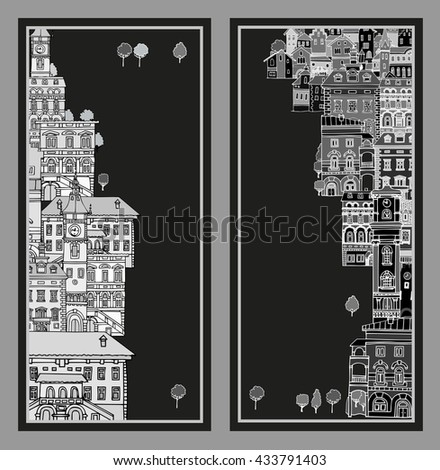 The narrow street of European cities.Different shape old houses.Facades of variegated buildings. Vintage facades. Sketch,hand drawn,cartoon style.Black and white.The city is divided into two parts - stock vector