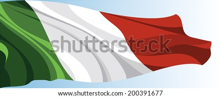 The national flag of the Italy on a background of blue sky - stock vector
