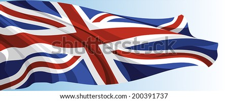 The national flag of the United Kingdom on a background of blue sky - stock vector