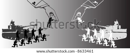 the neverending war of the black and the white - stock vector
