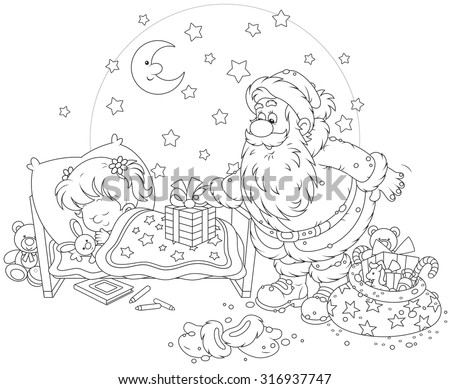 The night before Christmas, Santa Claus putting his presents near the bed of a sleeping girl - stock vector