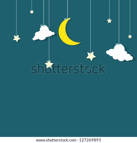 the night sky. moon, the stars and the clouds hanging on threads - stock vector