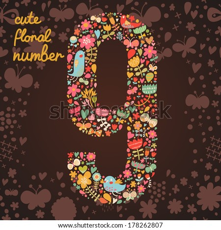 The number 9. Bright floral element of colorful alphabet made from birds, flowers, petals, hearts and twigs. Summer floral ABC element in vector - stock vector
