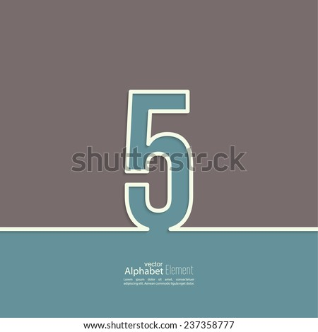 The number 5. five. abstract background. Outline. Logo or corporate identity - stock vector