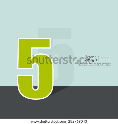 The number 5. five. abstract background. Outline. Logo or corporate identity. 