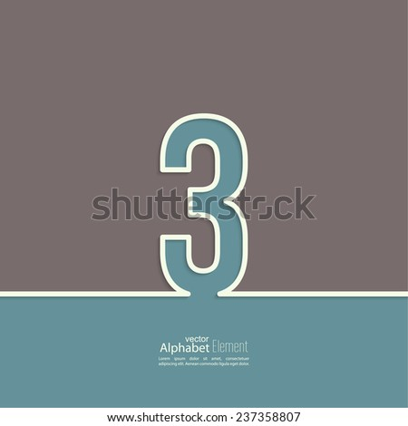 The number 3. three. abstract background. Outline. Logo or corporate identity - stock vector