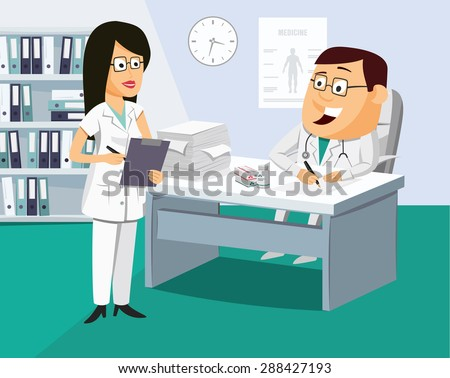 The nurse has a meeting with the doctor. Doctor writes a prescription for the patient. Funny vector simple illustration. - stock vector