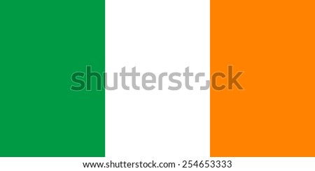 The official flag of Ireland in both sze and color. Also known as the Irish tricolour - stock vector
