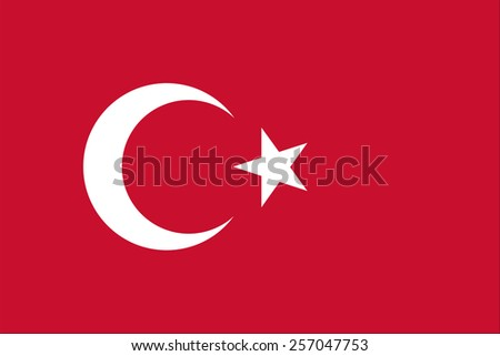 The official flag of the Republic of Turkey is both color and proportions - stock vector