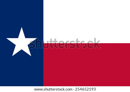The official flag of the state of texas in both color and dimensions. Also known as Lone Star Flag - stock vector