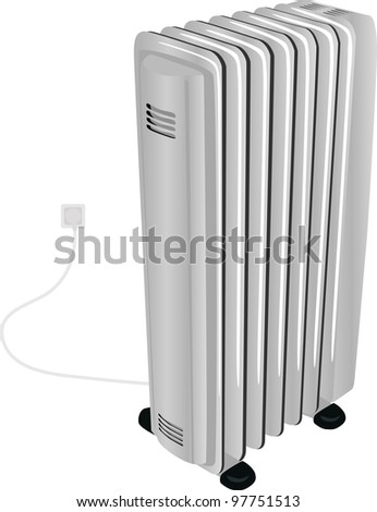 The oil electric heater - stock vector