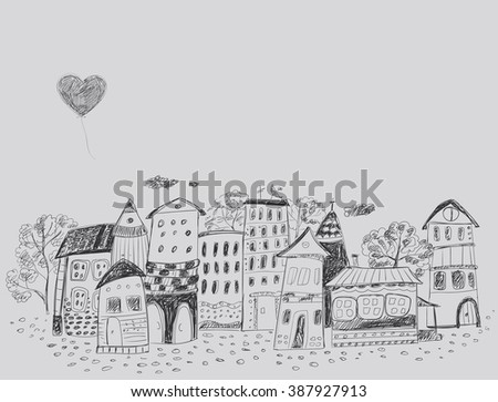 The old fairy-tale town. Contour hand Drawing. - stock vector