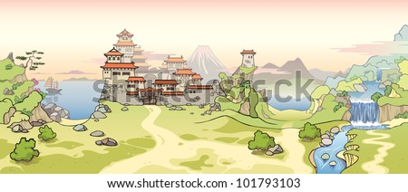 The old traditional Japanese castle and the typical calm green landscape around. - stock vector