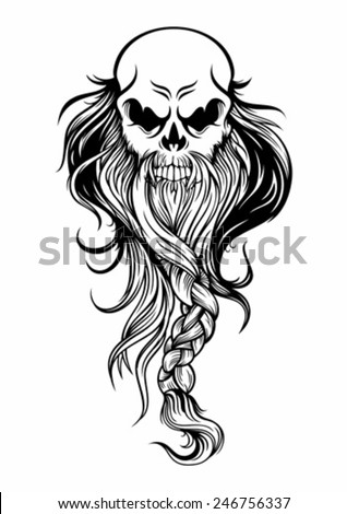 the old wise skull head with long beard - stock vector