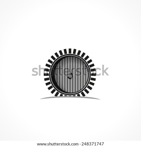 The open door of the boards in the brick round arch, vector icon - stock vector