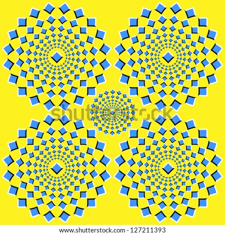 The optical illusion of movement executed in the form of squares running up from the center - stock vector