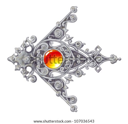 The ornated, silver vintage corner with a cabochon. Imitation of water color drawing. Vector illustration. - stock vector