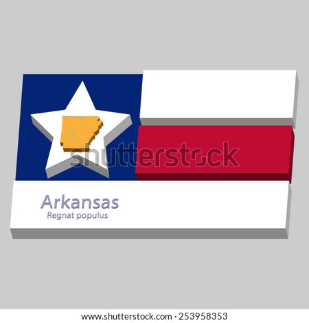 the outline of the state of Arkansas and its motto is depicted on the background of a small part of the flag of the United States of America - stock vector