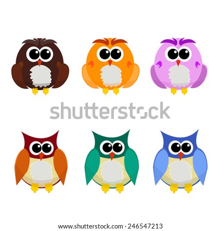 The Owl cartoon is colorful . - stock vector
