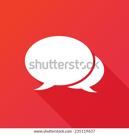 The pair of speech bubbles. Social icons. Modern flat icon with long shadow effect - stock vector