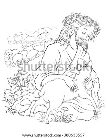 The parable of the lost sheep. Colouring page. Also available colored version - stock vector