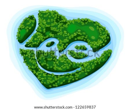 The Paradise Island of Love, Illustration by Vector Design. - stock vector