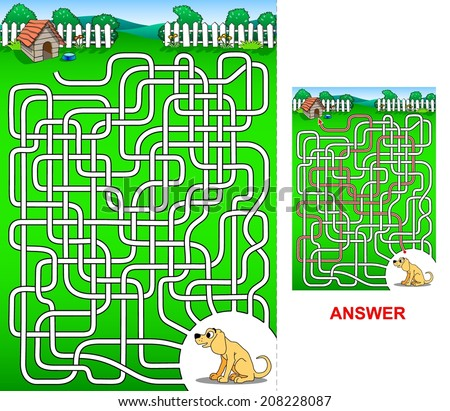 The path to the dog house - maze for kids.  Help to find the correct path for a dogie, so he can reach the dog house. - stock vector