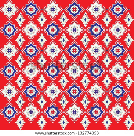 The pattern for a carpet on a red background. - stock vector