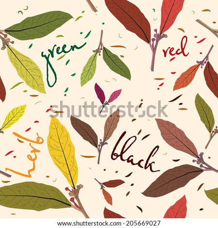 The pattern of tea leaves. Seamless template for your design Wallpaper, patterns,backgrounds, textures of the surface. The vector. - stock vector