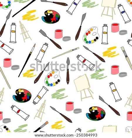the pattern palette knife, brushes, palette, watercolor, canvas, oil, gouache, tablet - stock vector