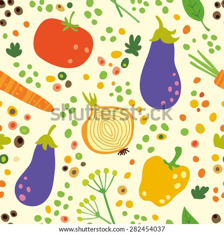 The pattern with summer harvest of vegetables: eggplant, onion, tomato, paprika, cucumber. Seamless background for your design. - stock vector