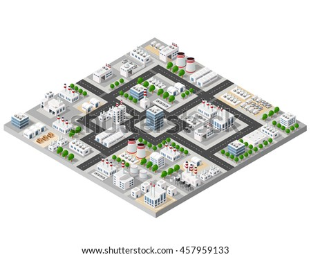 The perspective view of the landscape of industrial objects plants, factories, parking lots and warehouses. Isometric top view the city with streets, buildings and trees. 3D city construction industry - stock vector