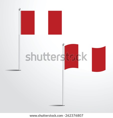 The Peru flag normal and waving flag set   Usa abstract flag vector eps 10 - stock vector